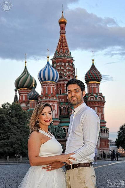 Moscow Evening Photoshoot - In Front of St. Basil's Cathedral at Sunset