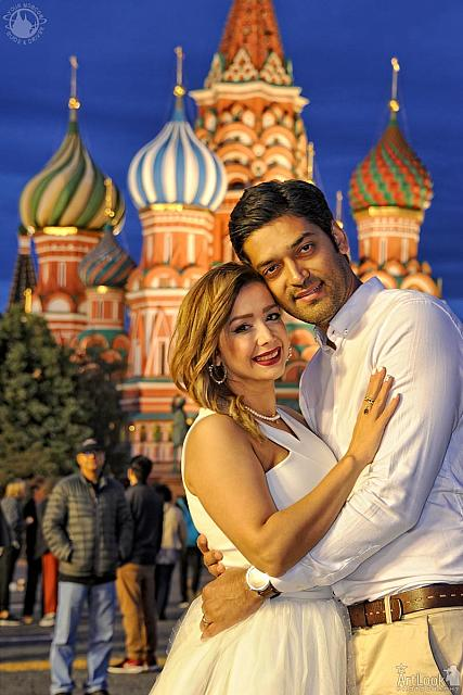 Moscow Evening Photoshoot - In the Background of the Domes of St. Basil's Cathedral