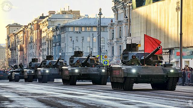 Column of T-14 Armata Tanks with Red Banner on Tverskaya Street