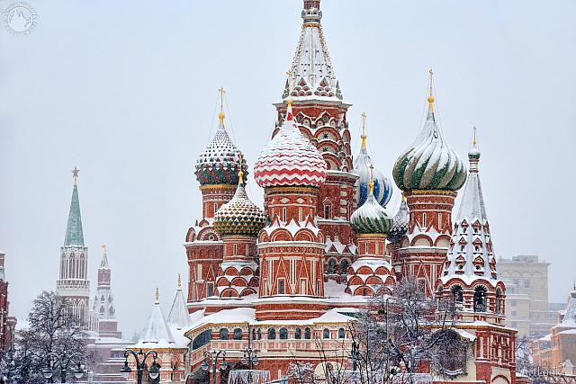 Domes of St. Basil's Cathedral Under Heavy Snowfall