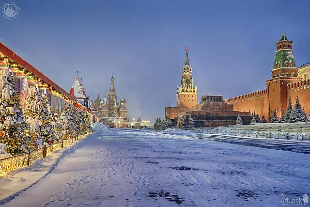 Red Square in Morning Twilight After Heavy Snowfall
