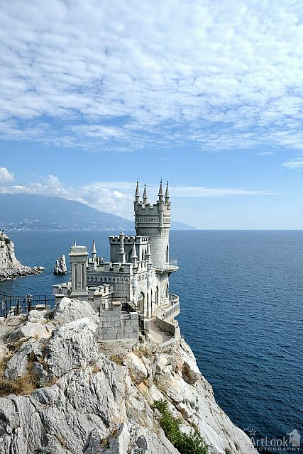 "White Clouds Over Neo-Gothic castle ""Swallow's Nest"" in Gaspra"