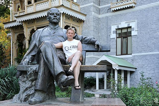 With Uncle Lenin on a Bench in Park of Gurzuf
