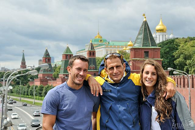 In Background of Moscow Kremlin
