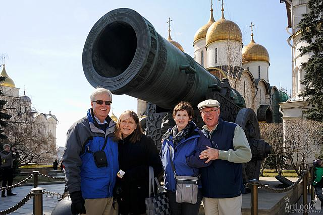Under the huge barrel of the famous Tsar Cannon