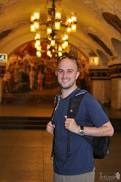 At the Kievskaya Metro Station on the Arbatsko-Pokrovskaya Line