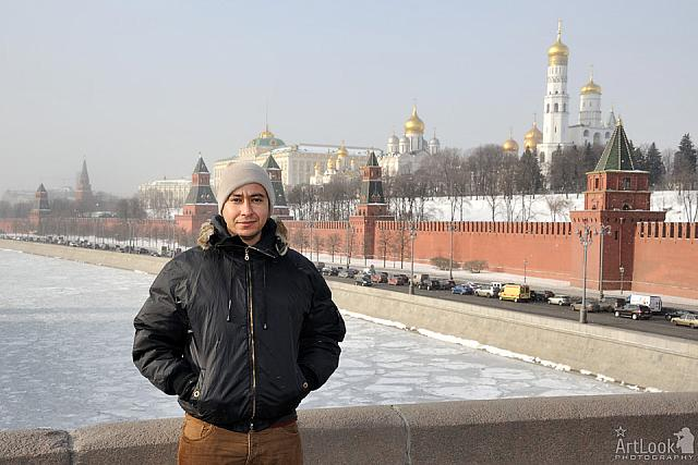 In Background of Moscow Kremlin during Light Snowfall