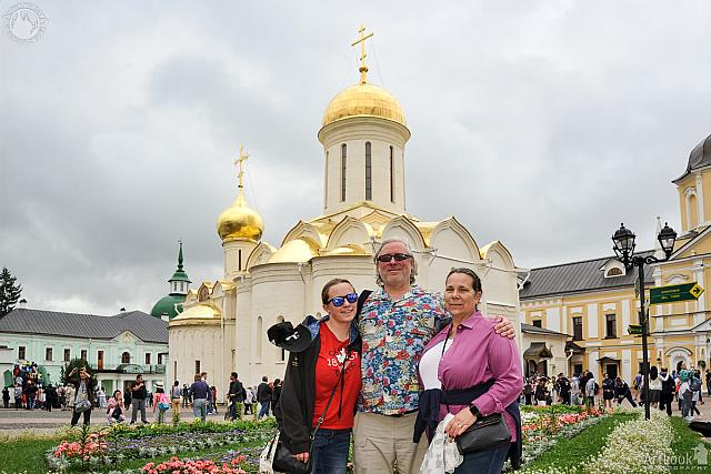 In Background of Shining Gold Ancient Holy Trinity Cathedral