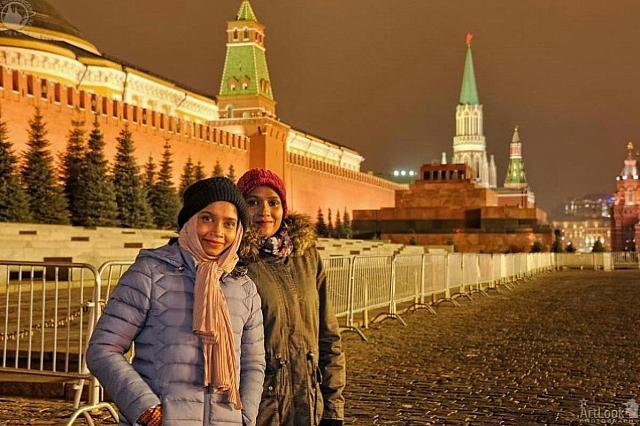 At the Kremlin Wall on Red Square in the Evening