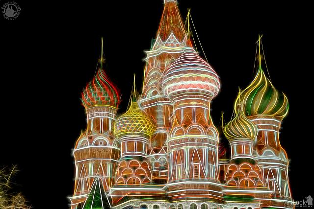 Domes of St. Basil's Cathedral in Neon Lights