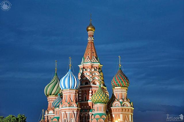Highlighted Domes of St. Basil's Cathedral in Summer Twilight