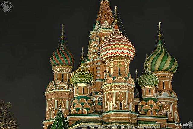 Illuminated Cupolas of St. Basil's Cathedral at Night