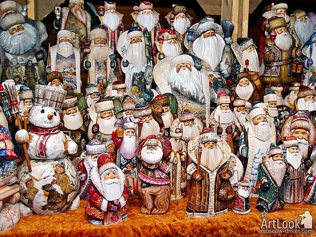 Carved Russian Santas and Snowman