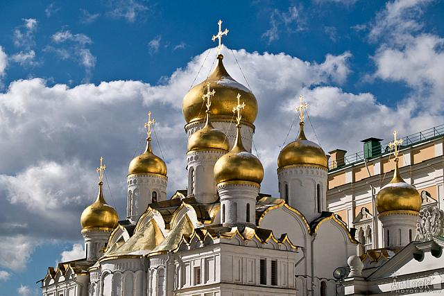 Shining Domes of Annunciation over Skies (Moscow Kremlin)