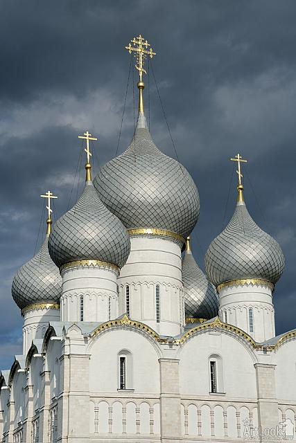 Silver Domes of Assumption Cathedral against Grey Clouds Rostov