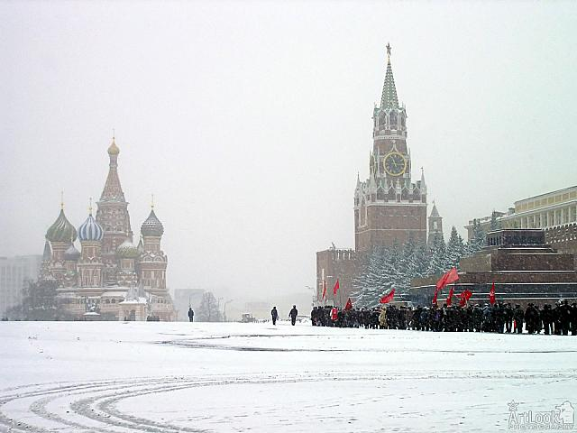 Red Soviet Flags on Snowy Red Square