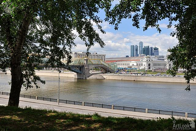 Cityscape from Rostovskaya Embankment Framed by Trees