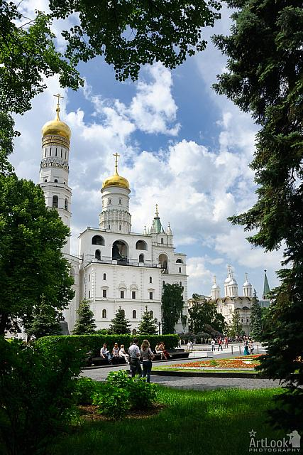 Architectural Ensemble of Moscow Kremlin Framed with Trees