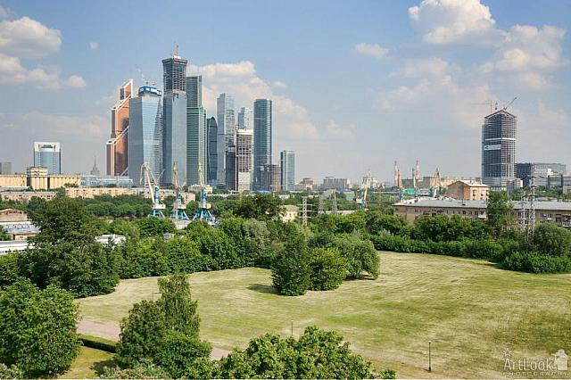 Panorama of New Financial District of Moscow City from Fili