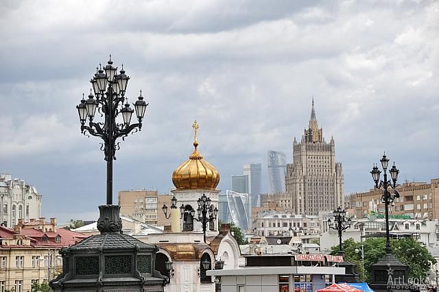 Old-Style Street Lamps and Buildings of Moscow under Cloudy Sky