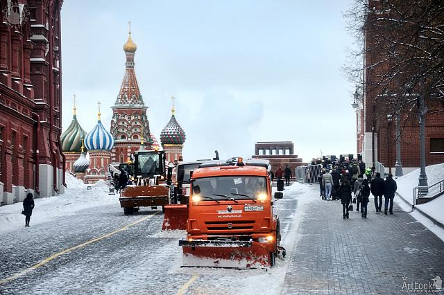 Cleaning Snow on a Slope at the Red Square