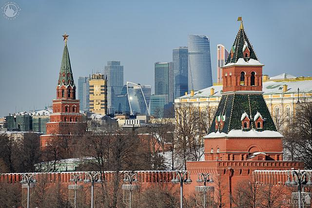 Kremlin Towers and Skyscrapers of Moskva City in Winter