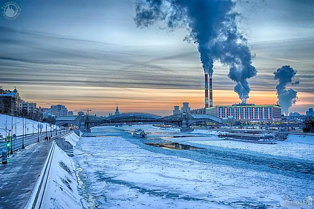 Frozen Moskva River and Rostovskaya Embankment at Winter Sunset