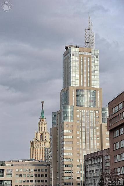 Moscow Towers at Sakharov Prospect under Grey Clouds