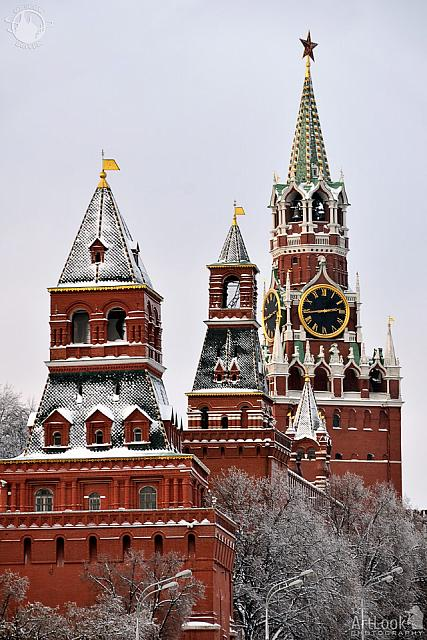 Kremlin Towers Covered Snow