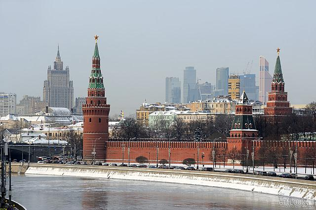 Kremlin Towers against the Modern Architecture