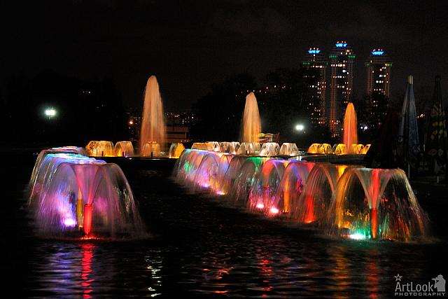 Colorful Fountains on Poklonnaya Hill