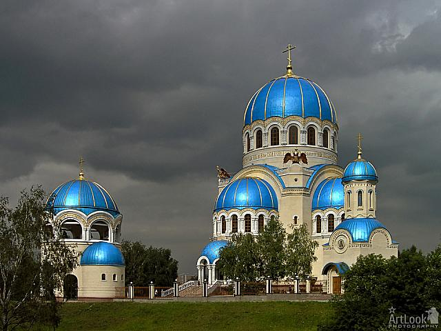 Magic Blue Domes of Holy Trinity under Grey Skies