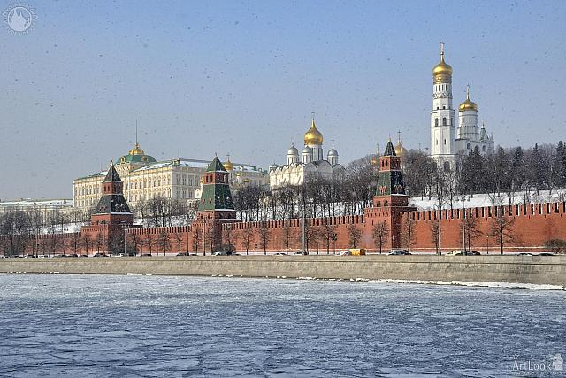 Moscow Kremlin and Frozen Moskva River in Snowfall. February 2017
