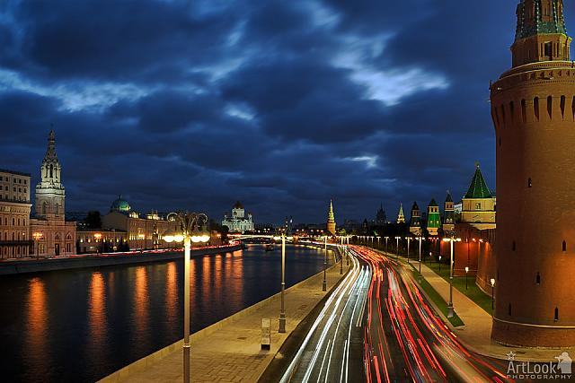 Car Lights of Moving Traffic at Revamped Kremlin Embankment