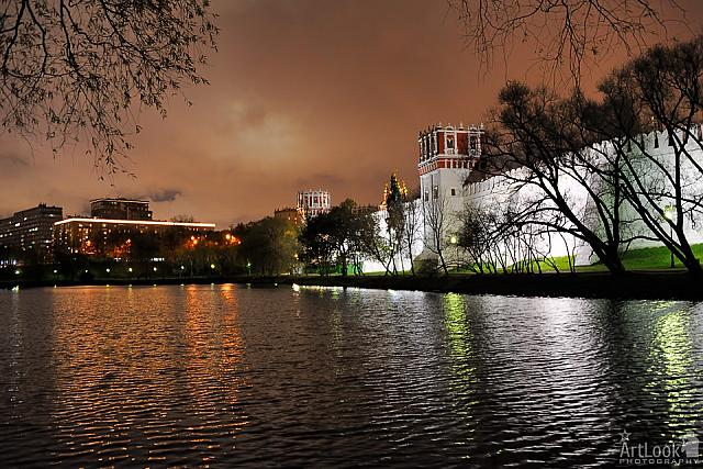 At the Big Novodevichy Pond in Cloudy Autumn Night
