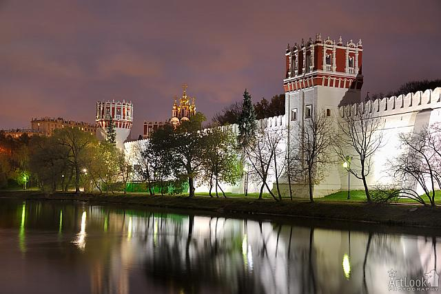 Reflection of Novodevichy Monastery Wall at Twilight