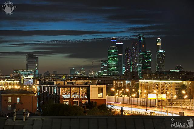 Moscow City Lights Under Dusk Sky