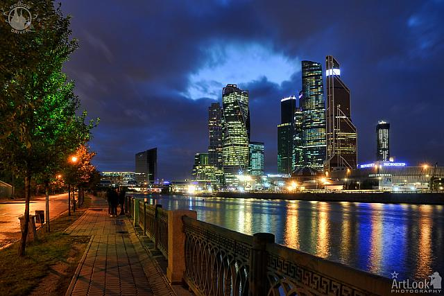 Moskva-City Skyline Under a Gap in Grey Clouds at Twilight