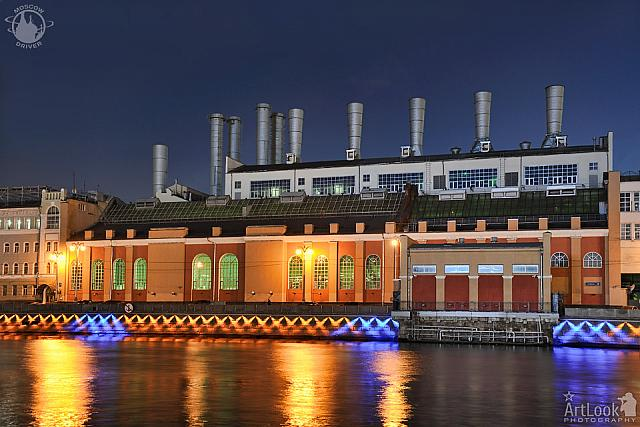 Russia's Oldest Power Plant on Raushskaya Emb. at Twilight