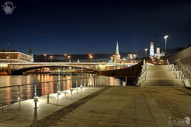 At the Passenger Pier of Park Zaryadye at Night