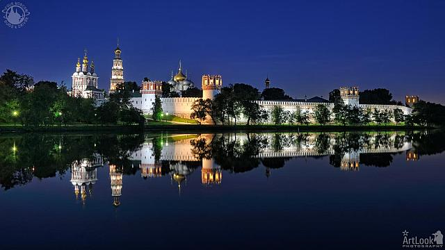 Panorama of Novodevichy Convent from Big Pond in the Blue Hour