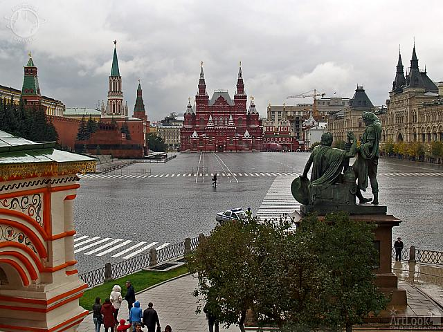 Blocked Red Square at a Rainy Day