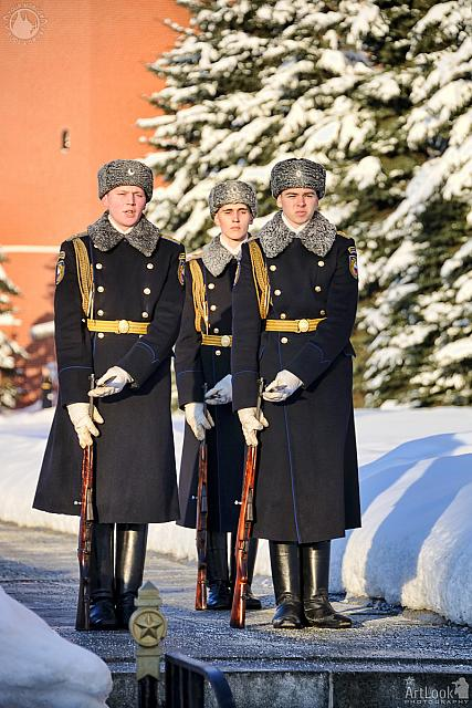 Honor Guards Locking Bayonet Knifes in Winter