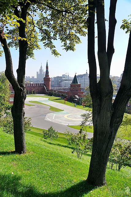 President's Helipad and Kremlin Towers Framed by Trees