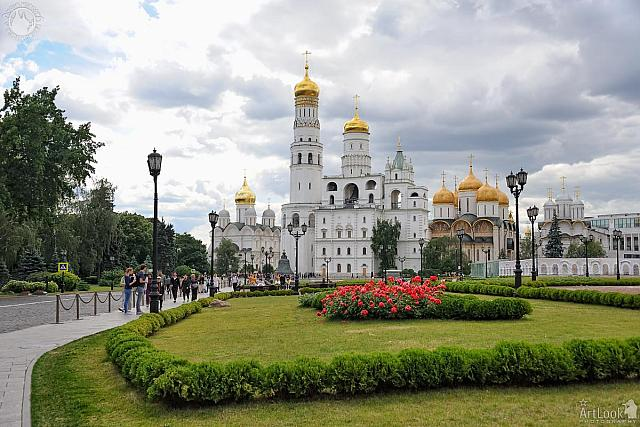 Flowerbed and Architectural Ensemble of Moscow Kremlin in Summer