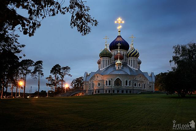 New Cathedral with Lighted Cross in Peredelkino