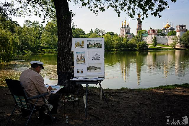 Work of Artist at Novodevichy Pond
