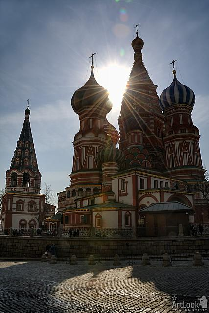 Sun Beams Between Towers of St. Basil's Cathedral