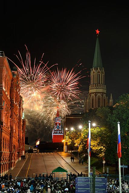 Fireworks Above the Savior Tower of Moscow Kremlin