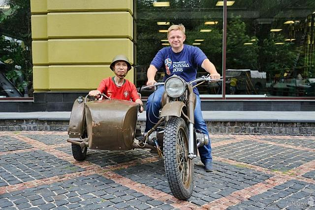 In the Soviet Motorcycle M-72 with Sidecar